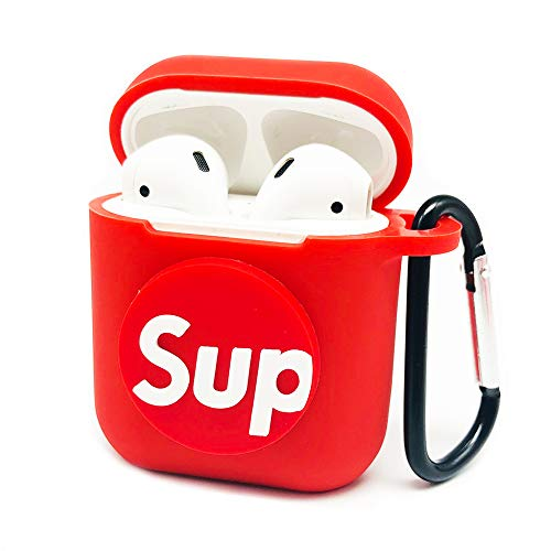 (Ztowoto Airpods Case Airpods Accessories Protective Silicone Cover and Skin with Carabiner and Airpods Staps for Apple Airpods Charging Case (Red-2))