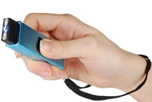 Powerful 10 Million Volt Rechargeable SLIDER Self Defense Keychain Flashlight Stun Gun - Blue