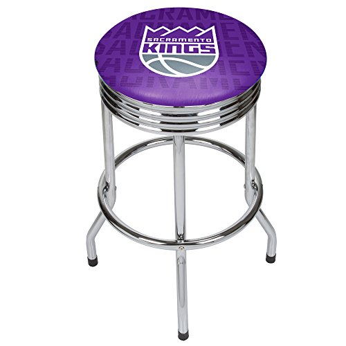 Trademark Gameroom NBA1005-SK3 NBA Chrome Ribbed Bar Stool - City - Sacramento Kings by Trademark Global