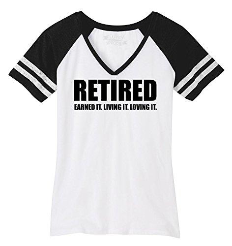 (Ladies Game V-Neck Tee Retired Earned It Living It Loving Cute Retirement Mom White/Black M)