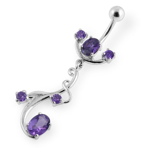 Purple CZ Gemstone Floral Climber and Brach Dangling 925 Sterling Silver Belly Ring Body jewelry ()