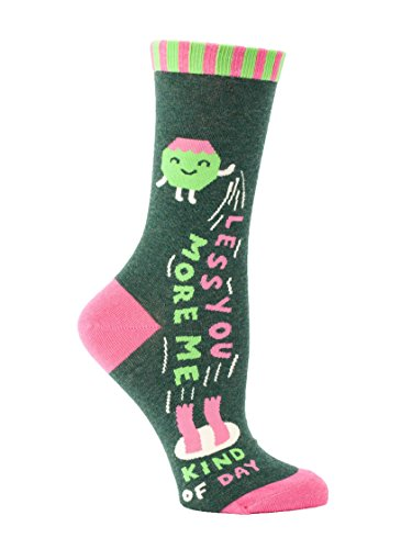 Blue Q Women's Novelty Crew Socks - Less You More Me with a sock ring,One Size