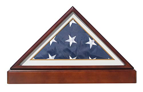 BurialFuneral-Flag-Display-Case-Frame-Military-Shadow-Box-with-Pedestal-Stand-with-Navy-White-Mat