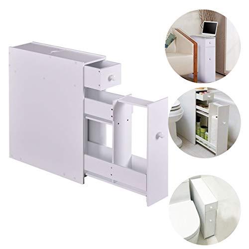 (NANI MDF Cabinet Drawers Stand Storage Unit Bathroom Kitchen Bath Space Saver Drawer White Organizer Office Door Knob Us Pull Home Room Furniture Shelf Floor Sliding Locker Tray Keeping (White))