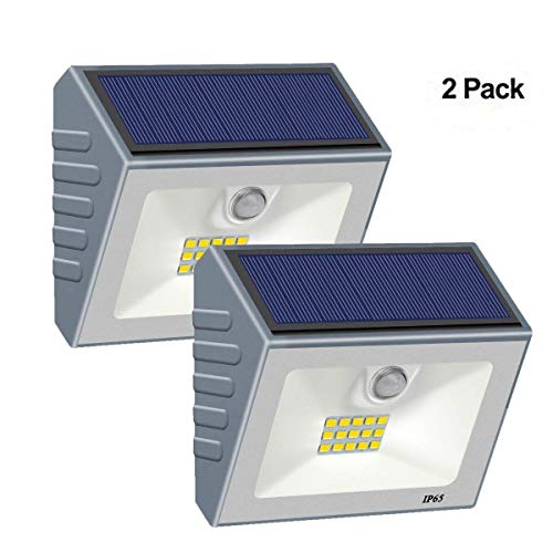 Solar Security Lights, Motion Sensor Solar Powered Lights15 LED Wireless Weatherproof Outdoor Wall Light with Unique Reflector for Gate, Patio, Yard, Fence,Garden, Driveway (Grey)[Pack of 2]