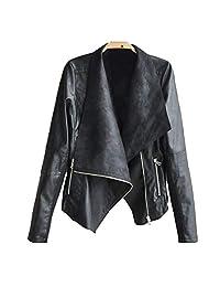 Forart Women's Faux Leather Jackets Slim Moto Biker Short Coat Jacket