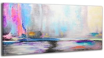 Ys Art Tableau Peinture Acrylique Aurore Boréale Peint à La Main