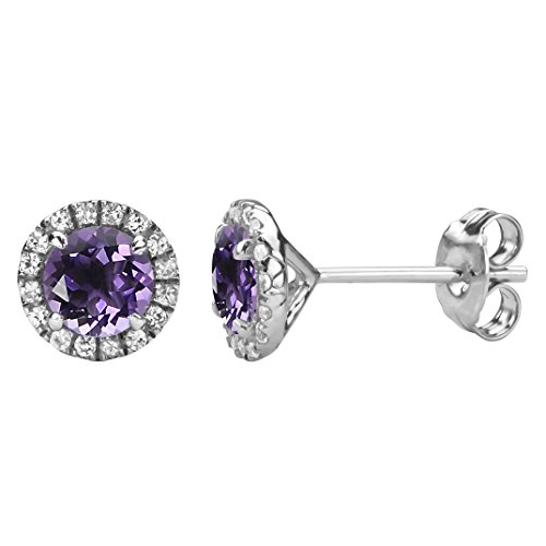 Sterling Silver Round Amethyst and Created White Sapphire Halo Stud Earrings (Amethyst Sapphire Stud)
