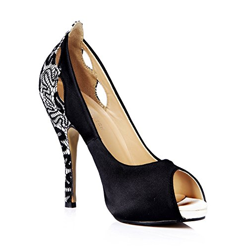 noir haut Mercer Cliquez nouvelle poissons à astuce tombent femmes banquet sur les femmes soirée talon chaussures soie Black chaussures 4Tw4Z7