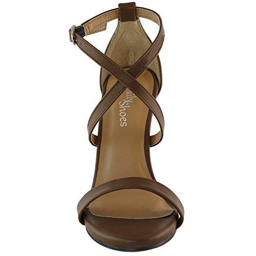 Dailyshoes Donna Sandalo Tacco Alto Open Toe Fibbia Alla Caviglia Tracolla Cross Platform Pompa Abito Da Sera Scarpe Casual Partito Marrone Pelle Pu
