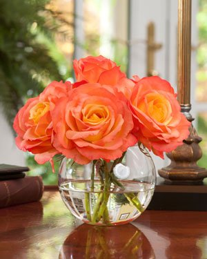 Petals Silkflowers Silk Rose Nosegay - Tropicana