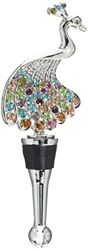 LS Arts Peacock with Stones Bottle Stopper, Multicolor by LSArts