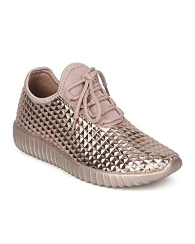 Alrisco Women Studded Jogger Sneaker - Pyramid Stud Exercise Shoe - Trendy Gym Work Out Fashion Sneaker - HD80 by Liliana Collection Rose Gold Metallic l4IQ8jU