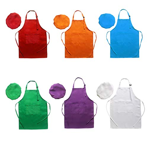 LOYUUY 6 Pcs Adjustable Children Chef Apron Set for Cooking Baking Painting Art Kids Chef Hat and Apron with 2 Pocket (Multicolor, S) ()