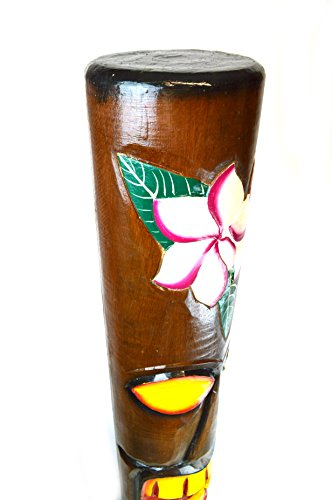 HAND-CARVED-BEAUTIFUL-5-FT-HIBISCUS-PLUMERIA-FLOWER-TIKI-TOTEM-POLE-STATUE