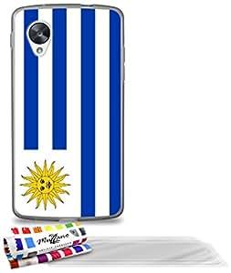 """Carcasa Flexible Ultra-Slim GOOGLE NEXUS 5 de exclusivo motivo [Bandera Uruguay] [Gris] de MUZZANO  + 3 Pelliculas de Pantalla """"UltraClear"""" + ESTILETE y PAÑO MUZZANO REGALADOS - La Protección Antigolpes ULTIMA, ELEGANTE Y DURADERA para su GOOGLE NEXUS 5"""