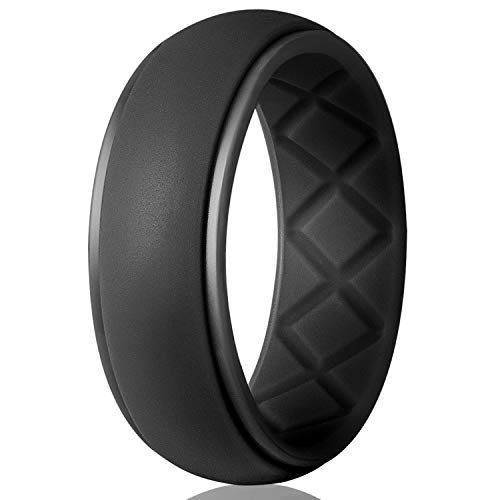 (Egnaro Silicone Wedding Ring for Men, Particularly Breathable Mens' Rubber Wedding Bands, Size 8 9 10 11 12 13, for Athletes Crossfit Workout )