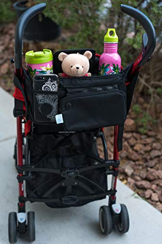 Baby Stroller Organizer Bag, Tray, Bottle Cup Holder, with Multiple Pockets & Compartments for Phone, Money, ID, Sunglasses, Snacks, Coffee, Extra Diaper. Separate Zippered Removable Pouch by Colico (Image #4)