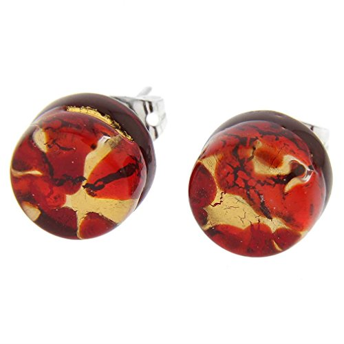GlassOfVenice Murano Glass Venetian Reflections Round Stud Earrings - Red Gold