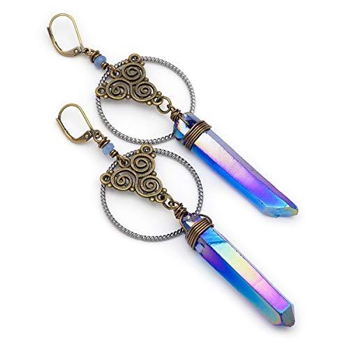 Indigo blue angel aura quartz crystal point bronze filigree geometric bohemian lever-back earrings