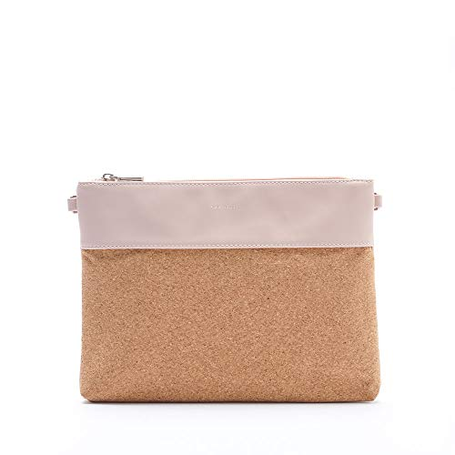 Nicole Large Cork Color Block 11 X 8 Vegan Leather Pouch Wristlet Crossbody Handbag