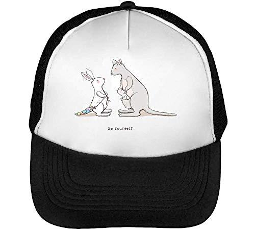 Be Yourself Bunny Kangaroo Gorras Hombre Snapback Beisbol Negro Blanco