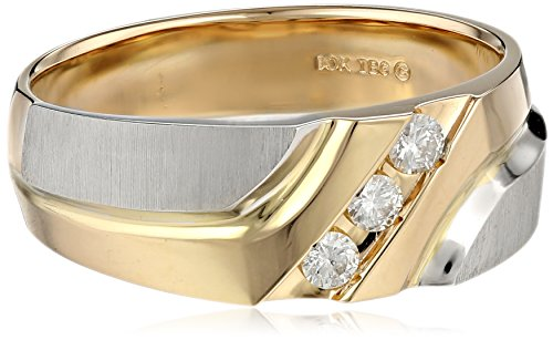 Men's 10k Two-Tone Gold Polished and Brushed Finish with Diamond-Accent Ring (0.15 cttw, H-I Color, I1-I2 Clarity), Size (0.15 Total Carat Weight)