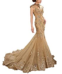 Long Beaded Dress With Tull Sweep Train