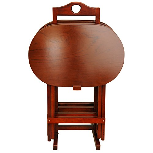 Oriental Furniture Rosewood TV Tray Set - Honey (Oval Tv Tray)