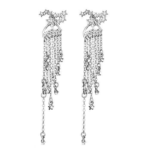 - vmree Elegant Shooting Star Meteor Rhinestone Tassel Dangle Earrings Brilliant Starry Studs Long Chain Eardrop for Cocktail Banquet (Silver)