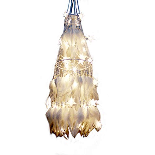 Sis Dream Catcher Glow in The Dark with Feathers 40 LED Lights Ornament for Room Home Decorations 31.5 inch- White