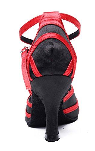Tda Dames Comfort Enkel Wrap Satijn Salsa Tango Ballroom Latin Moderne Dans Trouwschoenen Zwart Rood