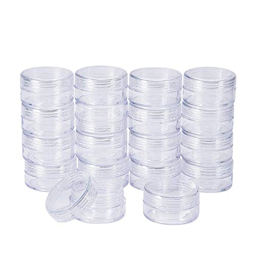BENECREAT 30 Pack 1.5x0.8 (15ml) Empty Clear Plastic Bead Storage Container jar with Rounded Screw-Top Lids for Beads, Nail Art, Glitter, Make Up, Cosmetics and Travel Cream
