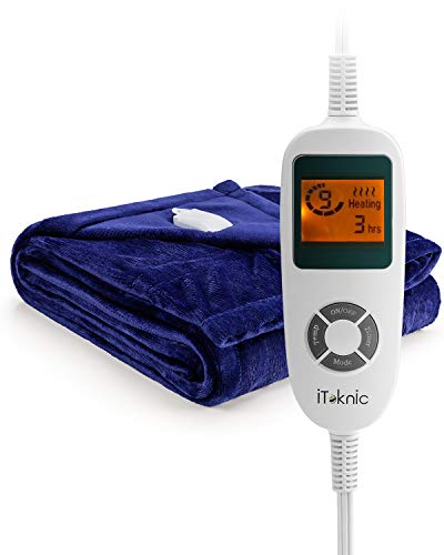 "iTeknic Electric Blanket Heated Throw with Fast Heating Technology, 10 Temperature Settings, Overheating Protection and Auto Shut Off 61""x 50"" (Royal Blue)-Washable Heated Blanket"