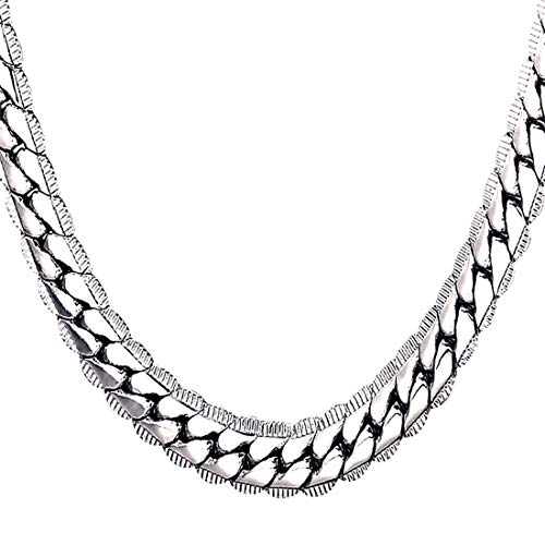 (U7 Men Heavy Chunky Necklace Fashion Jewelry Platinum Plated Thick Hip Hop Punk 9MM Wide Snake Chain Necklace (32 Inches))