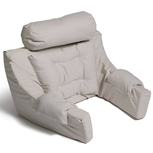 Hermell Deluxe Bed Lounger Pillow, Ergonomic, Adjustable Neck Rest, Padded Back, Cushioned Arm Rests, Removable Cover - Natural made in Connecticut