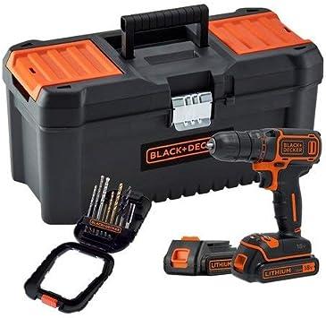 Black + Decker BDCDC18BTA-QW - Taladro inalámbrico (650 rpm, 2 baterías, 16 accesorios, incluye caja de herramientas, 18 V): Amazon.es: Bricolaje y herramientas