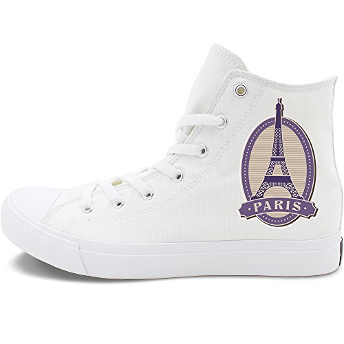 Wenfire Classic White Canvas Shoes Original Design Eiffel Tower Postmark Fashion Black Sneakers