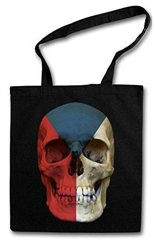 CLASSIC CZECHIA SKULL FLAG Hipster Shopping Cotton Bag Cestas Bolsos Bolsas de la compra reutilizables - Bandera cráneo Schädel Banner Fahne Tschechien Chequia
