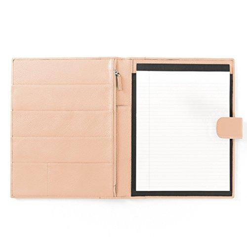 Leatherology Organizer Portfolio with Tablet Pocket & Magnetic Closure - Full Grain Leather Leather - Rose (Pebbled Leather Padfolio)