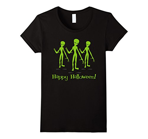 Homemade Halloween Alien Costumes (Womens Halloween Alien T-shirt | Scary Halloween Shirt Large Black)