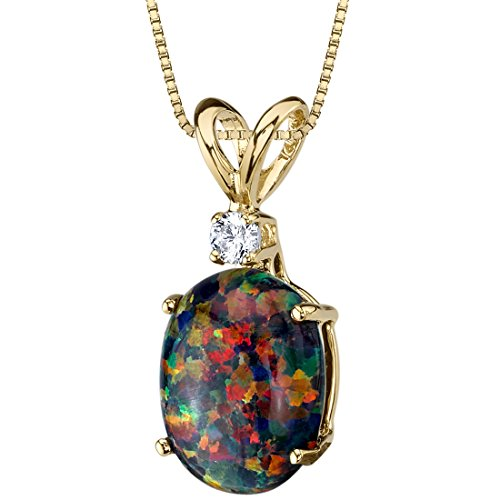 14 Karat Yellow Gold Oval Shape Created Black Opal Diamond Pendant ()