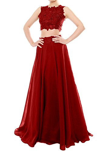 MACloth Women Two Piece High Neck Lace Chiffon Long Prom Dress ...