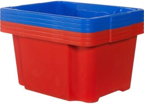 Essentialz Keter 30L - Juego de 6 cajas de plástico apilables y nido, color azul y rojo con guante de limpieza HSB de microfibra: Amazon.es: Hogar