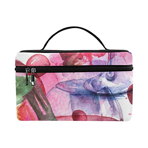 Vintage Watercolor Grape Wine Cups Bottles Pattern Lunch Box Tote Bag Lunch Holder Insulated Lunch Cooler Bag For Women/men/picnic/boating/beach/fishing/school/work