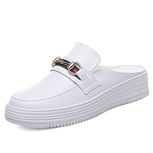 Sandales Pantoufles Ronde Respirant Mesdames Bouche b Blanc Shallow Vory Mode B4UqfZw
