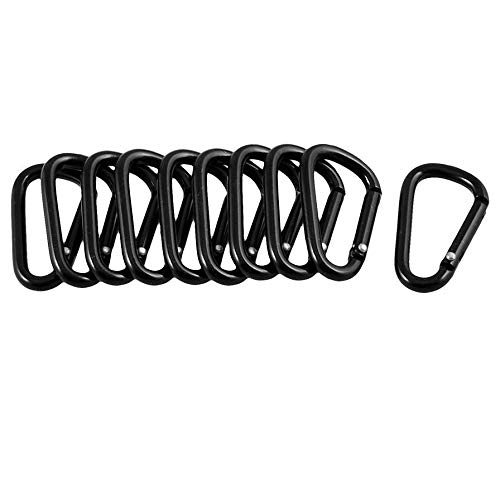 SFviwv 10 Pieces Black Aluminum Alloy Carabiner D Shape Buckle Pack Keychain Clip Hook Screw Gate Buckle