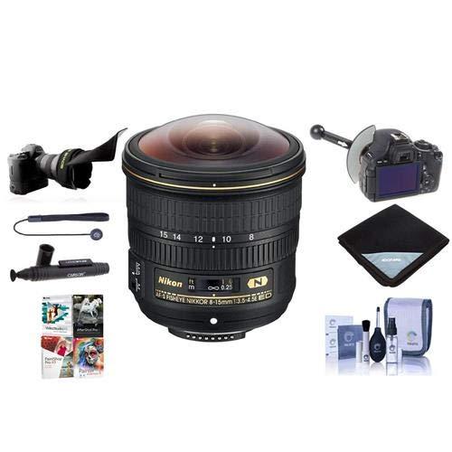 Nikon 8-15mm f/3.5-4.5E EDIF AF-S Fisheye NIKKOR Lens USA - Bundle With FocusShifter DSLR Follow Focus, Flex Lens Shade, Lens Wrap, Cleaning Kit, Capleash II, Software Package, Lenspen Cleaner