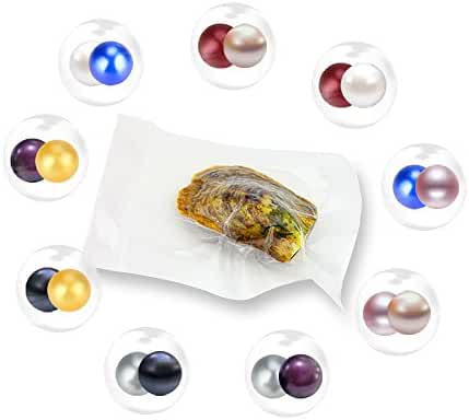 20PCS Twins Random Mixed 9 Colors Individual Packed 6-7mm Round Akoya Cultured Pearl Oyster