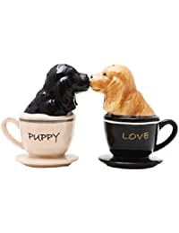 Win 1 X Cocker Spaniel Pups in Tea Cups Magnetic Salt & Pepper Shakers cheapest